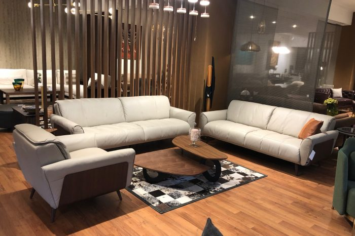 Natuzzi Editions Grey Leather Sofa